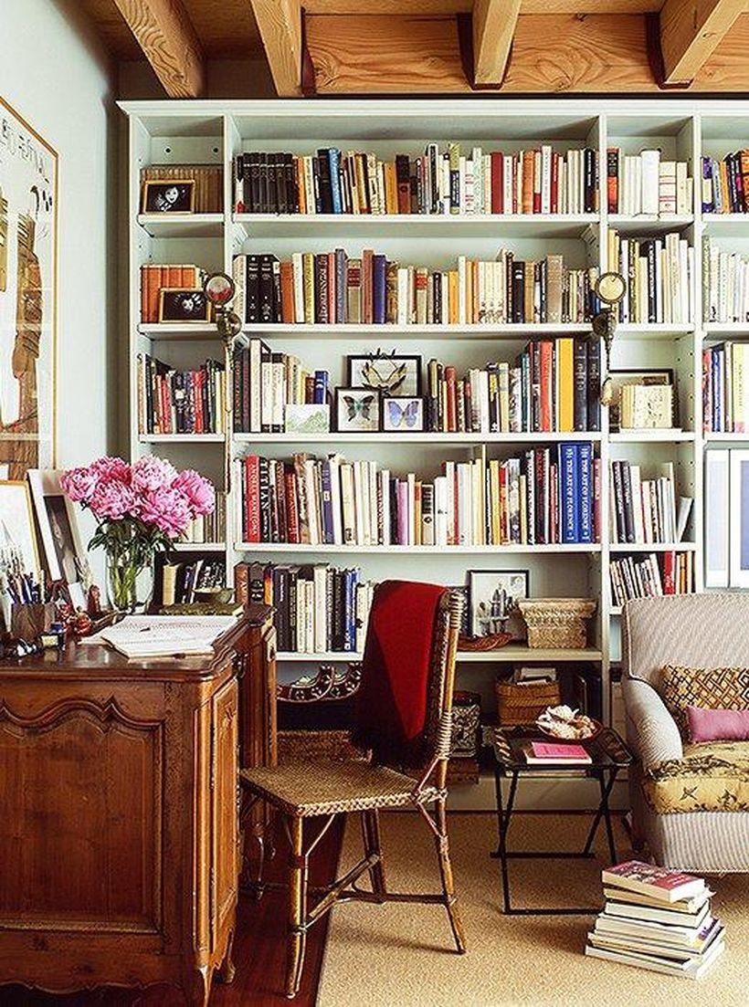 Living Room Library Design Ideas: Inspiring Home Library Design And Decorations 26